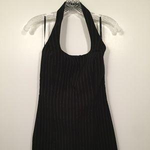 NWT bebe Black White Pinstripe Mini Halter Dress S